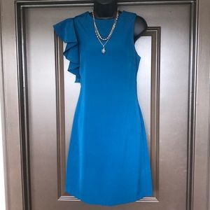 Turquoise/Blue colored, one shoulder, ruffle dress